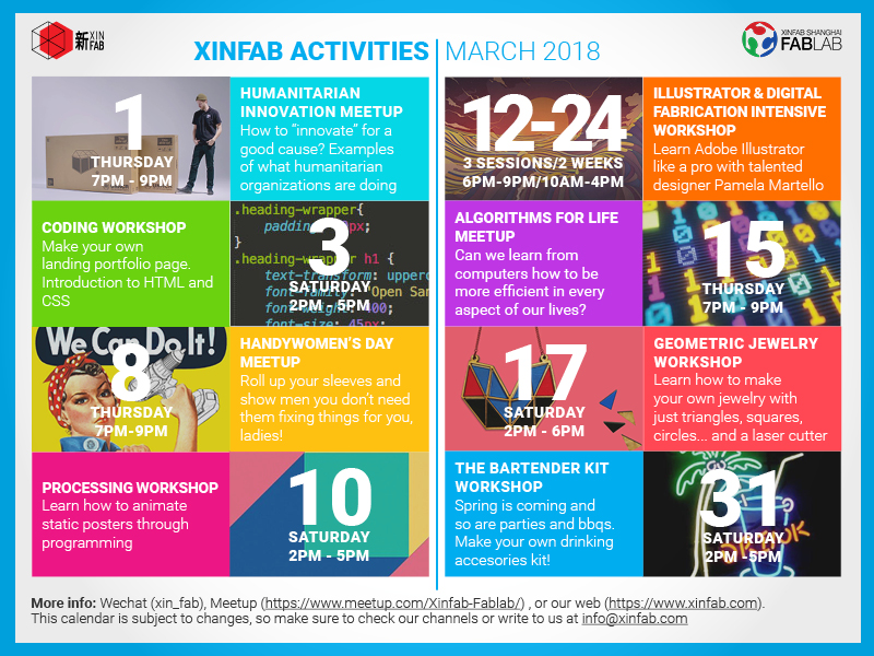 c16167eb These are the activities we have planned for March so far, but we'll surely  include more during the month, so follow us on Wechat (add xin_fab or scan  the ...